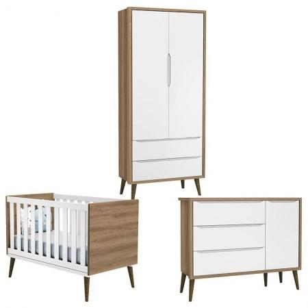Quarto de Bebê Theo 2 Portas com Cômoda com Porta Branco Acetinado Mezzo Castani com Pés Amadeirado - Reller