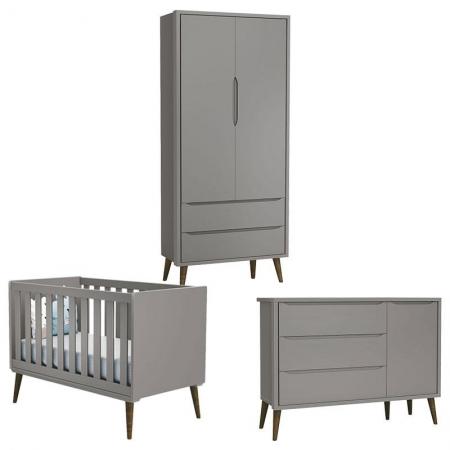 Quarto de Bebê Theo 2 Portas com Cômoda com Porta Cinza com Pés Amadeirado - Reller