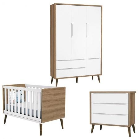 Quarto de Bebê Theo 3 Portas Branco Acetinado Mezzo Castani com Pés Amadeirado - Reller