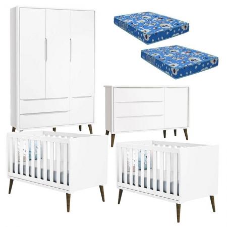 Quarto de Bebê Theo 3 Portas com 02 Berços Branco Acetinado com Pés Amadeirados e Colchão - Reller