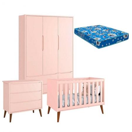 Quarto de Bebê Theo 3 Portas com Colchão e Cômoda Gaveteiro Rosa Pés Amadeirados - Reller