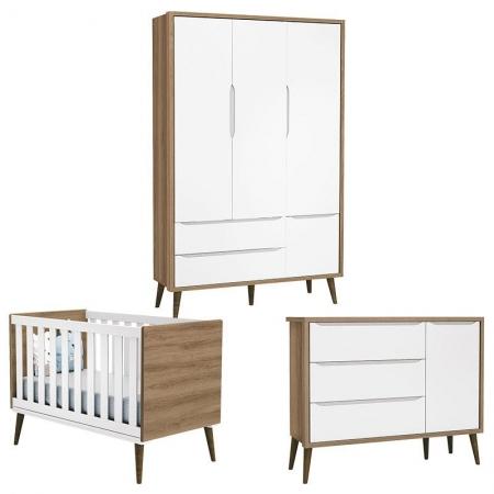 Quarto de Bebê Theo 3 Portas com Cômoda com Porta Branco Acetinado Mezzo Castani com Pés Amadeirado - Reller