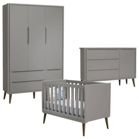 Quarto de Bebê Theo 3 Portas com Cômoda com Porta Cinza com Pés Amadeirado - Reller