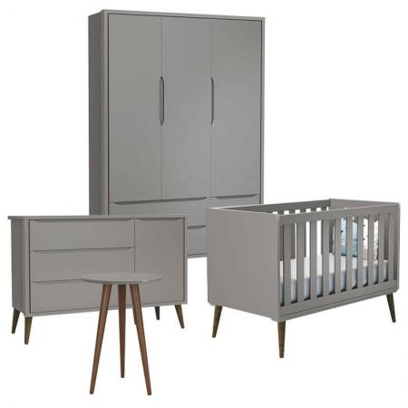Quarto de Bebê Theo 3 Portas com Cômoda e Mesa de Canto Cinza com Pés Amadeirados - Reller