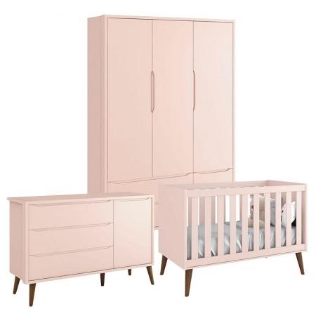Quarto de Bebê Theo 3 Portas Rosa com Pés Amadeirados - Reller