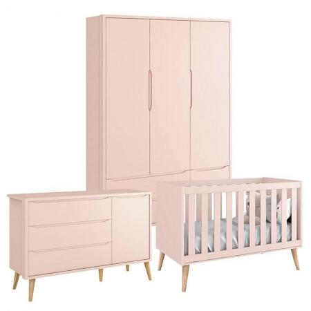 Quarto de Bebê Theo 3 Portas Rosa com Pés Madeira Natural - Reller