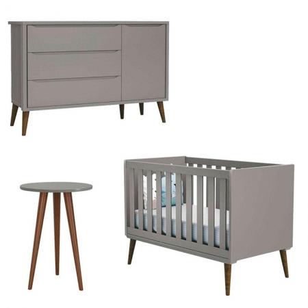 Quarto de Bebê Theo com Mesa de Canto Cinza com Pés Amadeirados - Reller