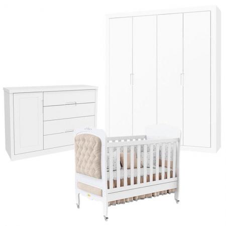 Quarto de Bebê Tutto New 4 Portas com Cômoda 1 Porta e Berço Provence Branco Acetinado com Capitonê - Matic