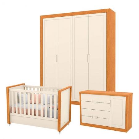 Quarto de Bebê Tutto New 4 Portas Freijó Off White - Matic