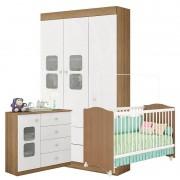 Quarto de Bebê Xodó 3 Portas Branco Brilho Almendra - Móveis Estrela