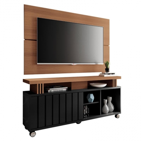 Rack Bancada e Painel para TV Rivera 1.3 Nature Preto - HB Móveis