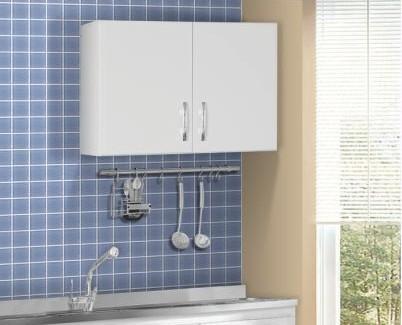 Armário Aéreo de Cozinha 2 Portas Branco Brilho - AJL