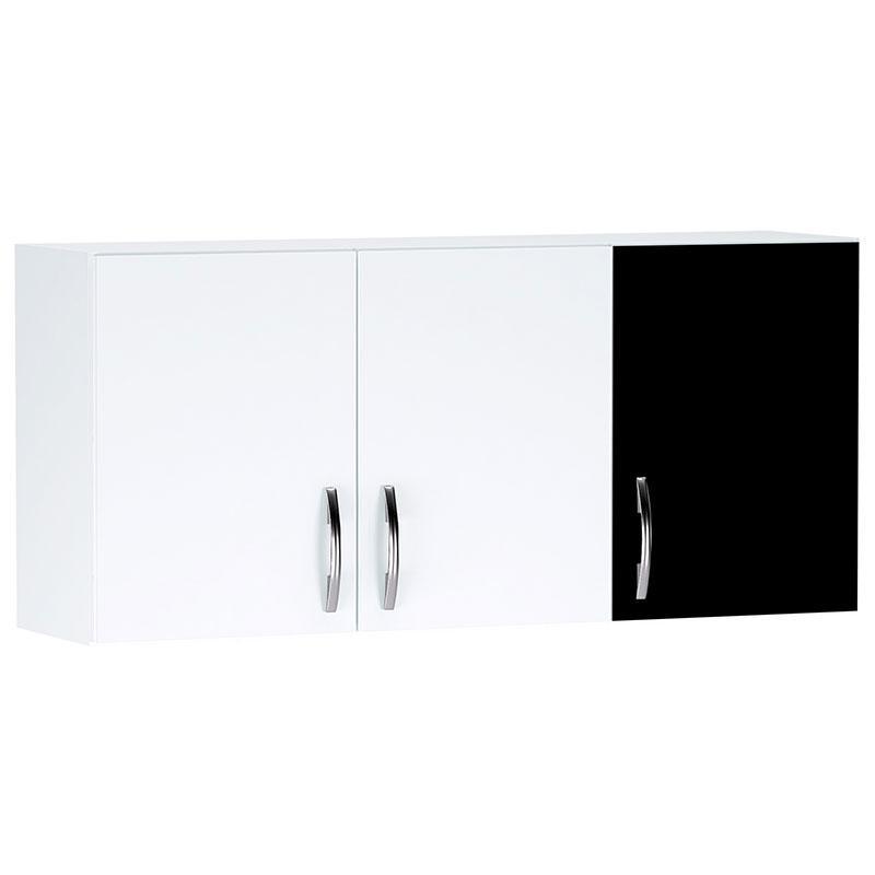 Armário Aéreo de Cozinha 3 Portas Branco Preto - AJL