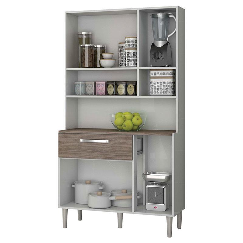 Armário de Cozinha Kit Cancun 6 Portas Branco Malbec - Incorplac
