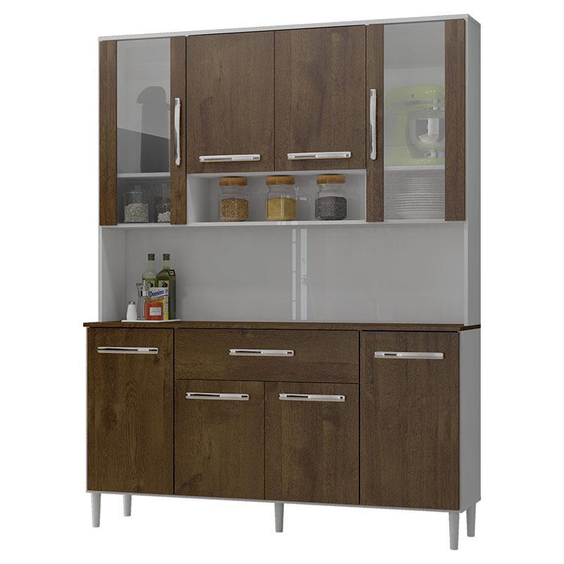 Armário de Cozinha Kit Cancun 8 Portas Branco Malbec - Incorplac