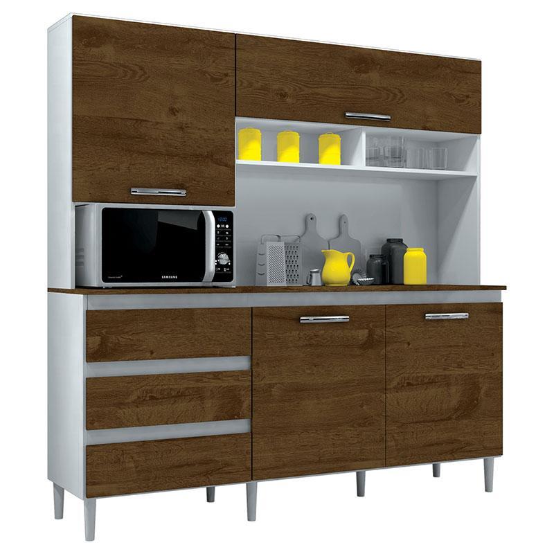 Armário de Cozinha Kit Florença 4 Portas Branco Malbec - Incorplac