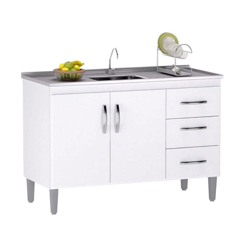 Balcão de Cozinha Isabel 100 cm Branco Brilho com Tampo - AJL