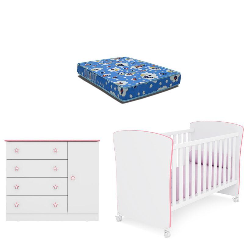 Berço Americano 2484 com Colchão e Cômoda Infantil 2561 Branco Rosa Brilho - Qmovi