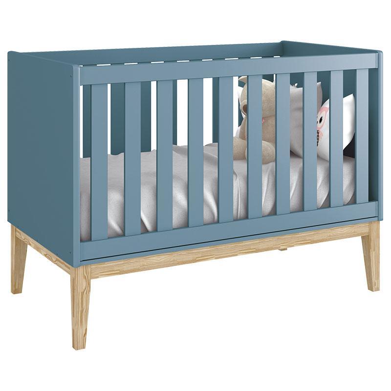 Berço Americano e Cômoda Infantil 1 Porta Classic Azul com Pés Madeira Natural - Reller