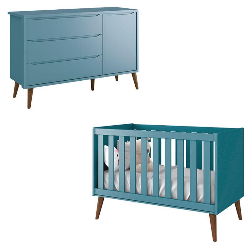 Berço Americano e Cômoda Infantil 1 Porta Theo Azul com Pés Amadeirados - Reller