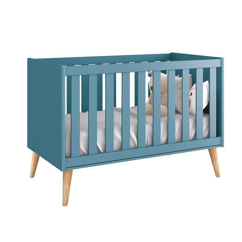 Berço Americano e Cômoda Infantil 1 Porta Theo Azul com Pés Madeira Natural - Reller