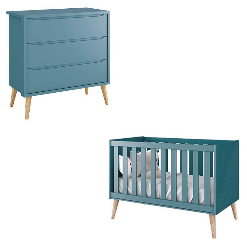 Berço Americano e Cômoda Infantil Gaveteiro Theo Azul com Pés Madeira Natural - Reller