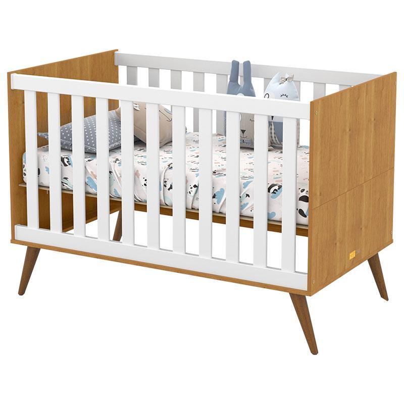Berço Americano e Guarda Roupa Infantil 2 Portas Retro Gold Freijó Branco Eco Wood - Matic