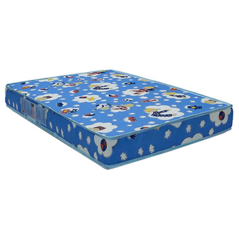 Berço Americano New Theo Azul com Pés Madeira Natural e Colchão Ortobom - Reller