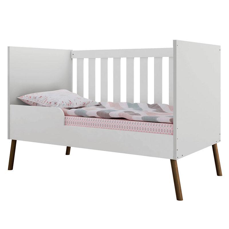 Berço e Cômoda Infantil Retrô Bibi com Porta Branco Acetinado - Móveis Estrela