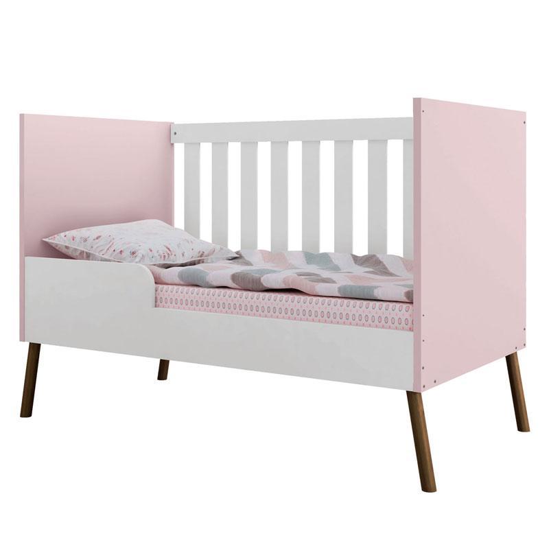 Berço e Guarda Roupa Infantil Retrô Bibi 3 Portas Branco Acetinado Rosa - Móveis Estrela