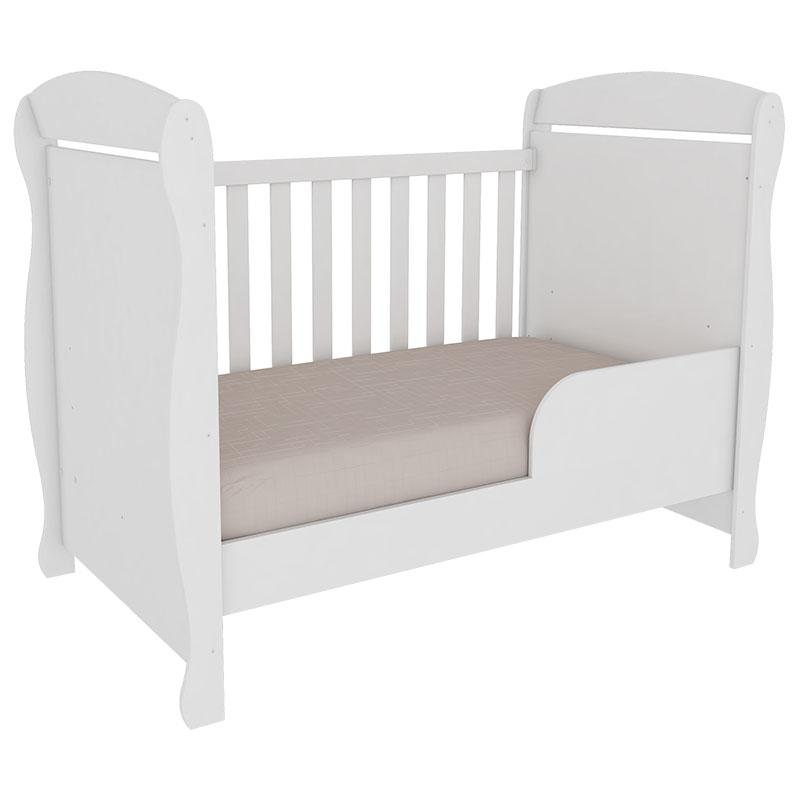 Berço Junior e Guarda Roupa Infantil Biel 3 Portas Branco Brilho - Peroba