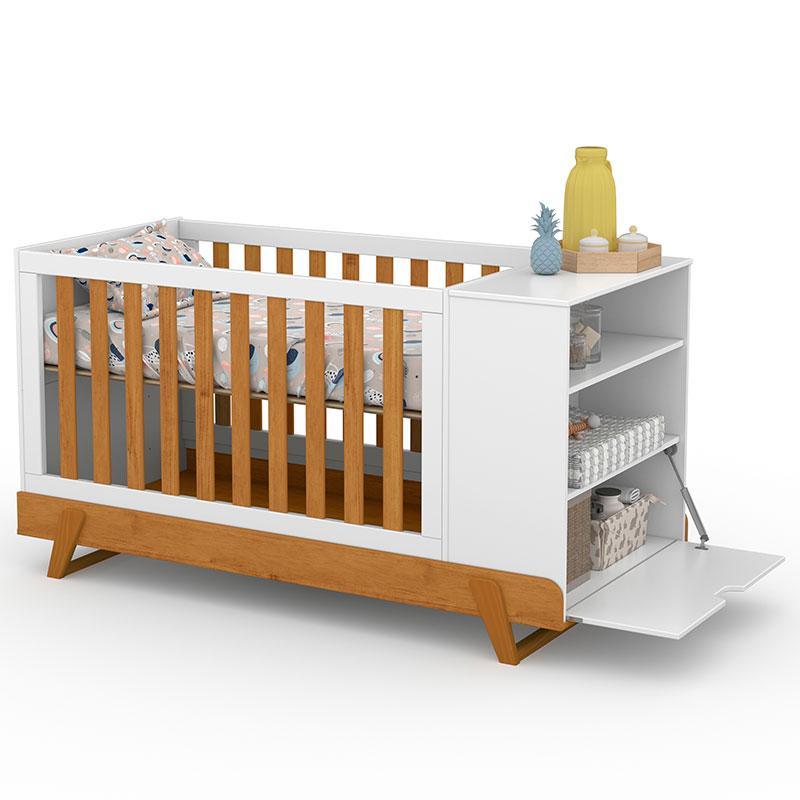 Berço Multifuncional Bkids com Cômoda Infantil Gold Branco Freijó Eco Wood - Matic