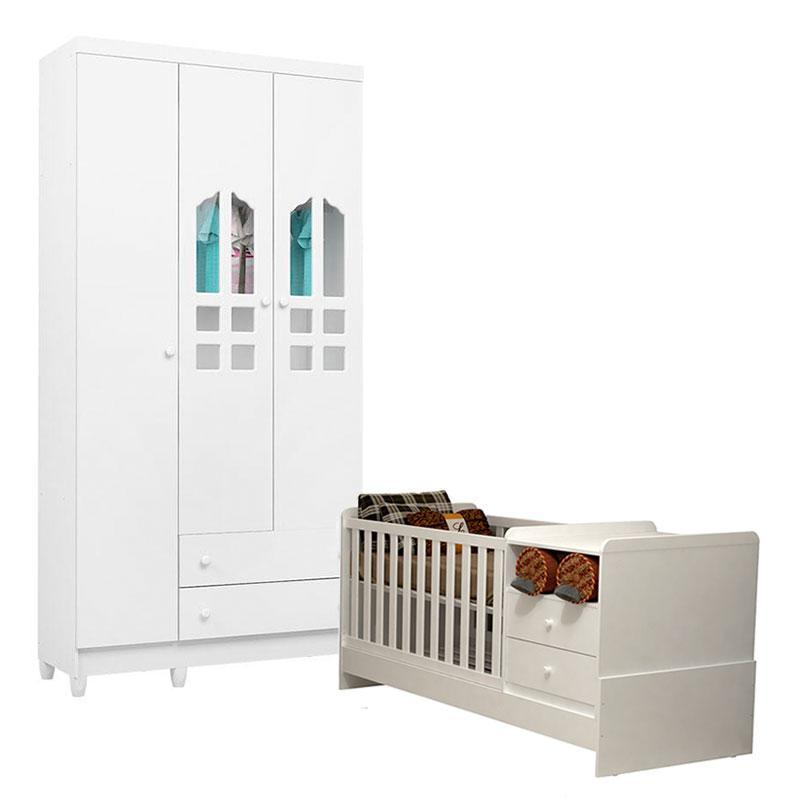 Berço Multifuncional e Guarda Roupa Infantil Selena 3 Portas Branco Brilho - Carolina