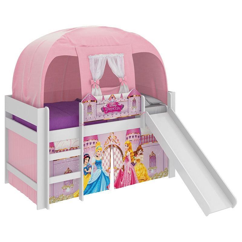 Cama Infantil Princesas Disney Play com Escorregador e Barraca Branco - Pura Magia