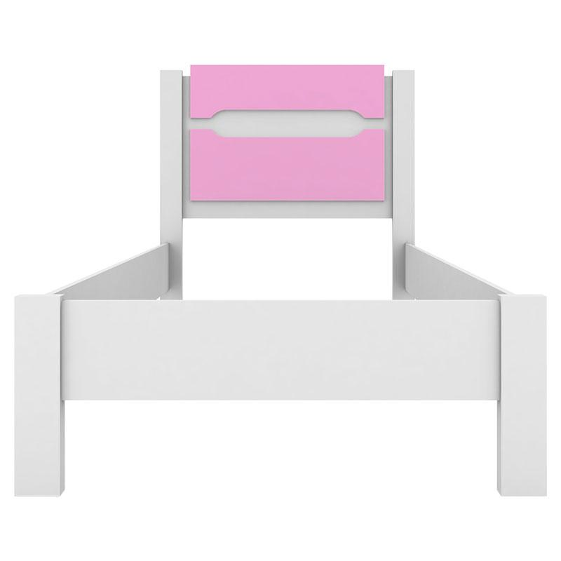 Cama Infantil Riviera Branco e Rosa com Colchão - Demóbile