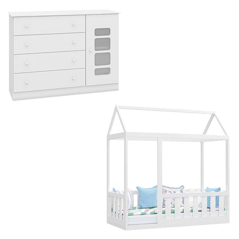 Cama Montessoriana com Grade e Cômoda Infantil Lis Branco Brilho - Canaã