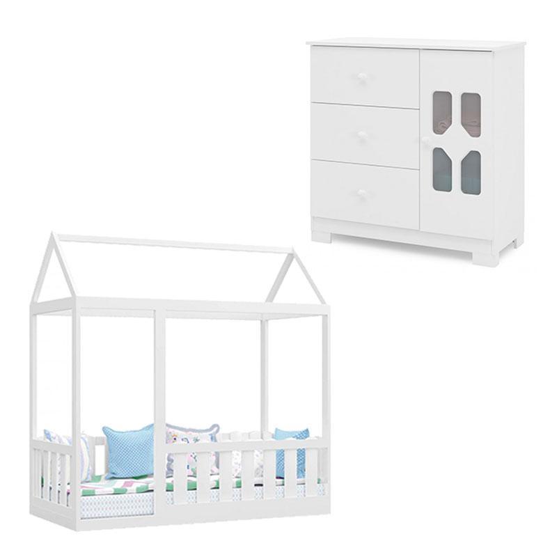 Cama Montessoriana com Grade e Cômoda Infantil New Cristal Branco Brilho - Canaã