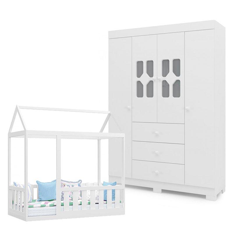 Cama Montessoriana com Grade e Guarda Roupa Infantil New Cristal 4 Portas Branco Brilho - Canaã