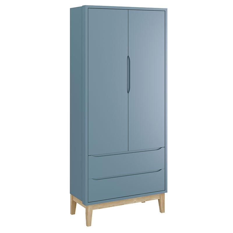 Cômoda com Porta e Guarda Roupa Infantil 2 Portas New Classic Azul com Pés Madeira Natural - Reller