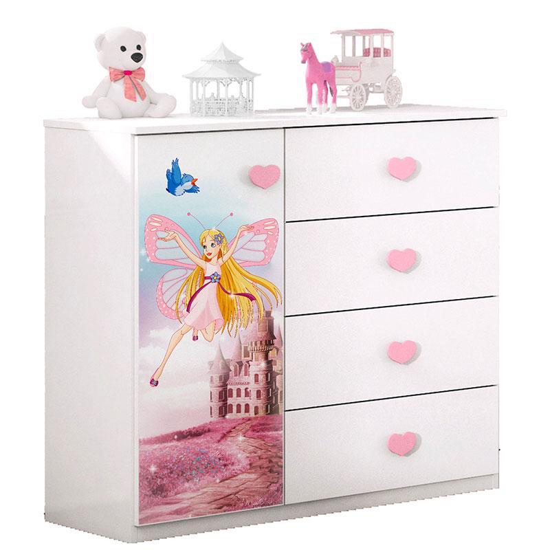 Cômoda e Guarda Roupa Infantil Carruagem Branco Acetinado - Móveis Estrela
