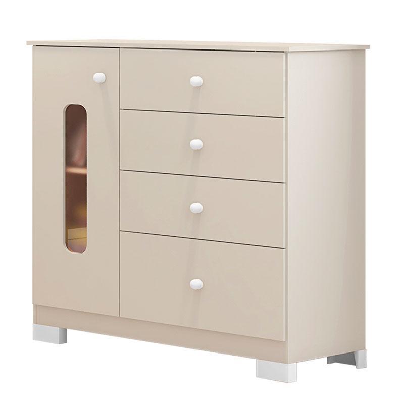 Cômoda e Guarda Roupa Infantil Sonhos 3 Portas Off White - Móveis Estrela