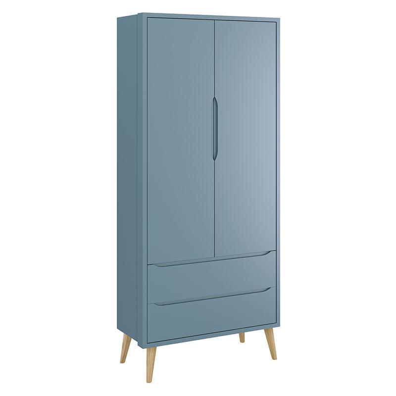 Cômoda Infantil 1 Porta e Guarda Roupa 2 Portas Theo Azul com Pés Madeira Natural - Reller