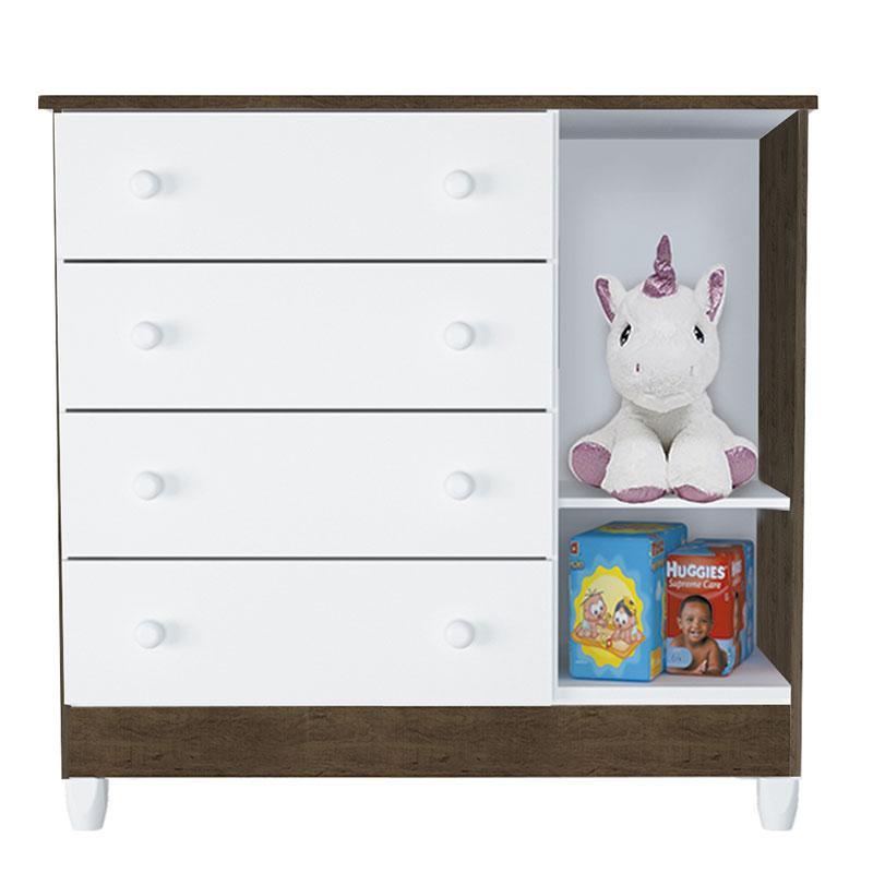 Cômoda Infantil Ariel com Porta Branco Acetinado Amadeirado - Carolina