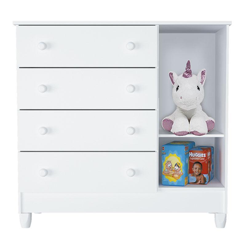 Cômoda Infantil Ariel com Porta Branco Brilho - Carolina
