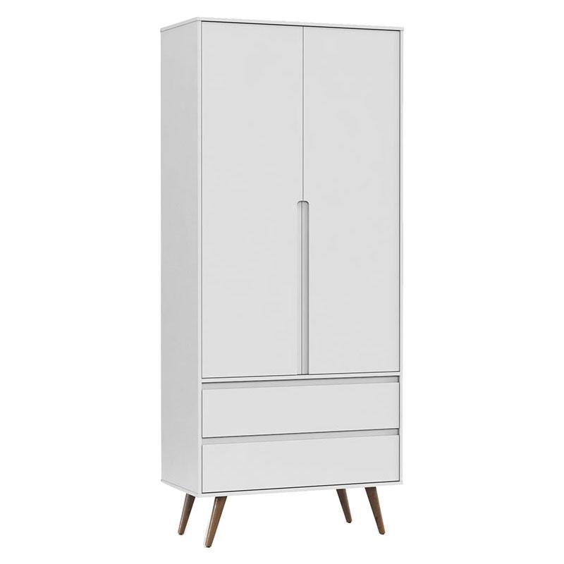 Comoda Infantil com Porta e Guarda Roupa 2 Portas Retro Clean Branco Acetinado Eco Wood - Matic