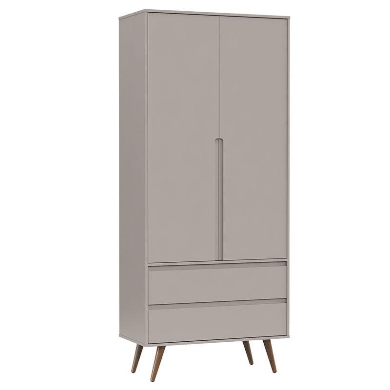 Comoda Infantil Com Porta e Guarda Roupa 2 Portas Retro Clean Cinza Eco Wood - Matic