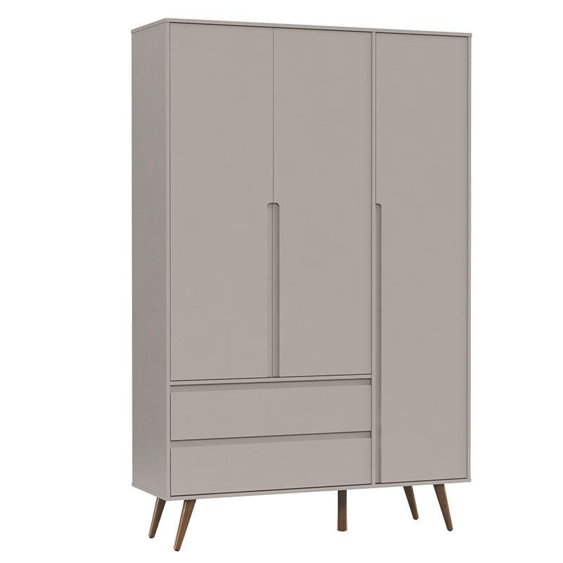 Comoda Infantil Com Porta e Guarda Roupa 3 Portas Retro Clean Cinza Eco Wood - Matic