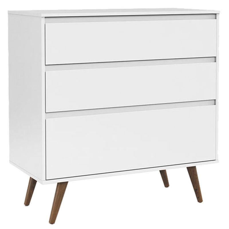 Comoda Infantil e Guarda Roupa 3 Portas Retro Clean Branco Acetinado Eco Wood - Matic