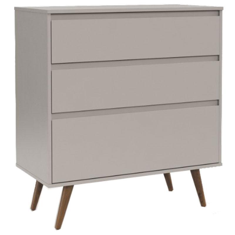 Comoda Infantil e Guarda Roupa 3 Portas Retro Clean Cinza Eco Wood - Matic