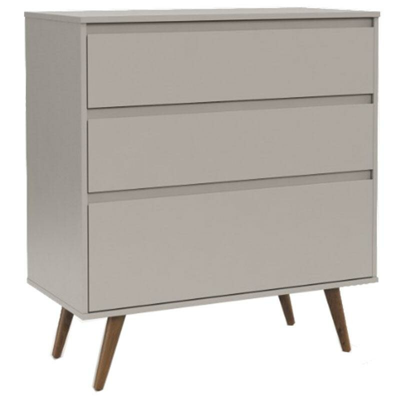 Comoda Infantil Retro Clean e Guarda Roupa 2 Portas Cinza Eco Wood - Matic